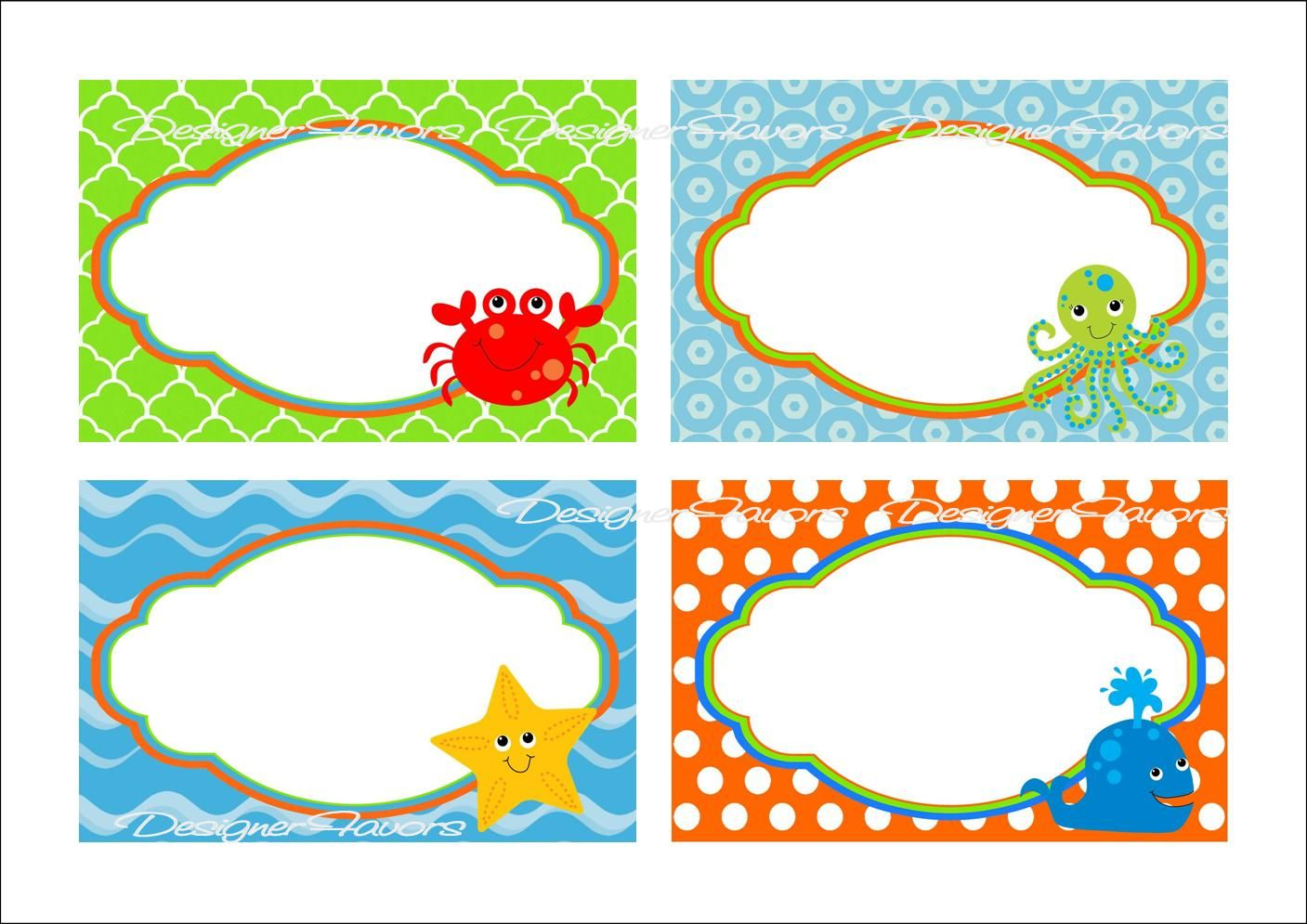 Under the Sea Food Labels Free Printable Tags.