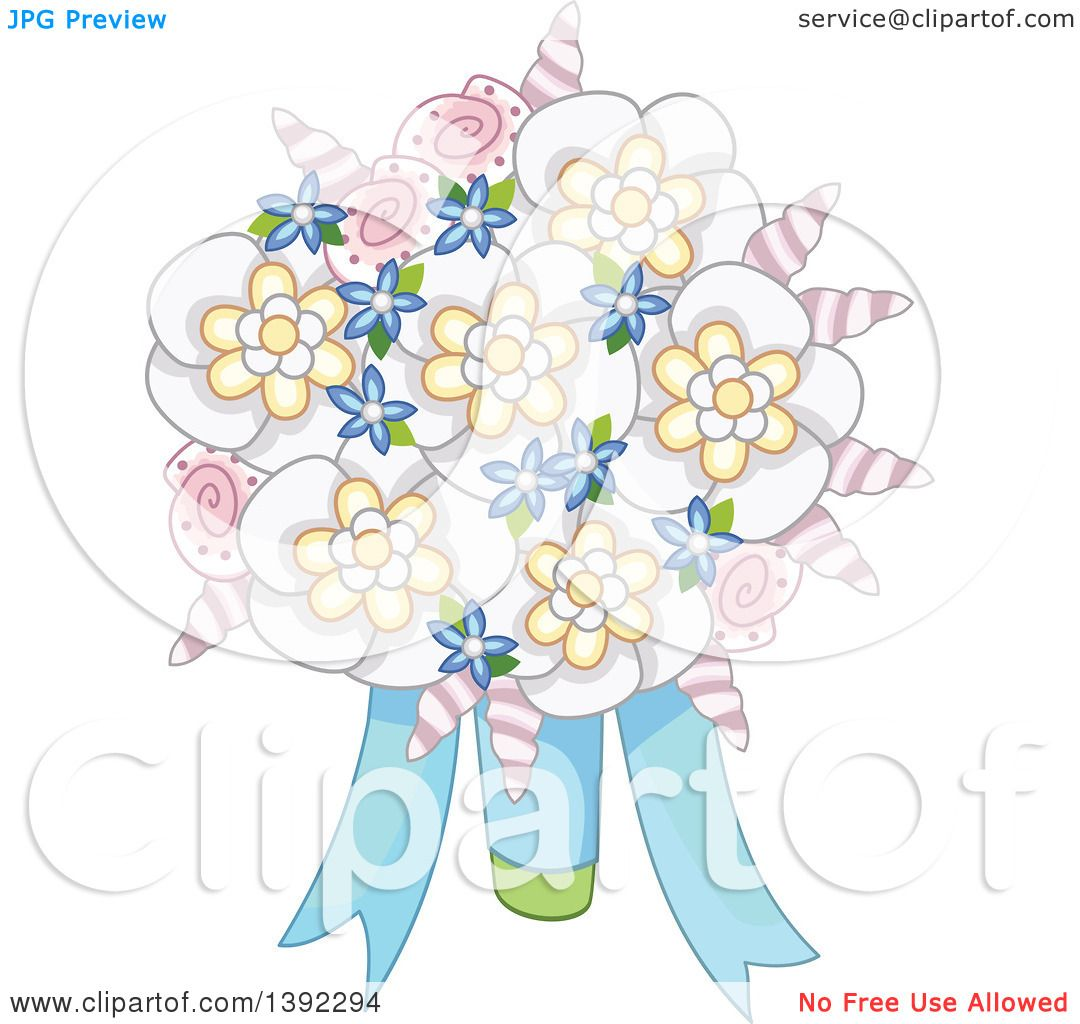 Clipart of a Beach Wedding Themed Flower Bouquet with Shells.
