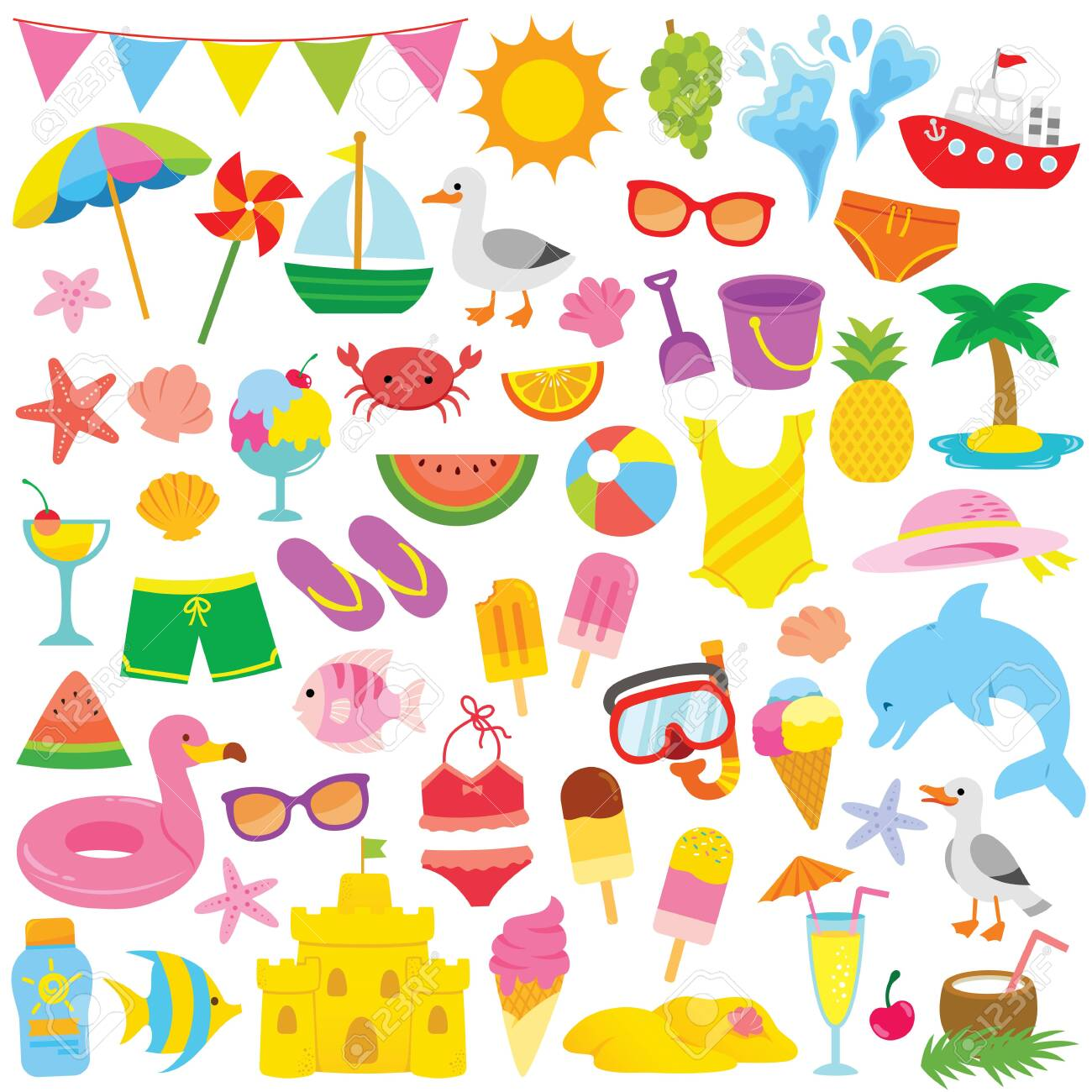 Summer and beach themed clip art set with cute illustrations...