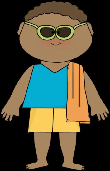 Boy Wearing Sunglasses and Beach Towel Clip Art.