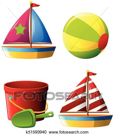 Beachball and other beach toys Clipart.