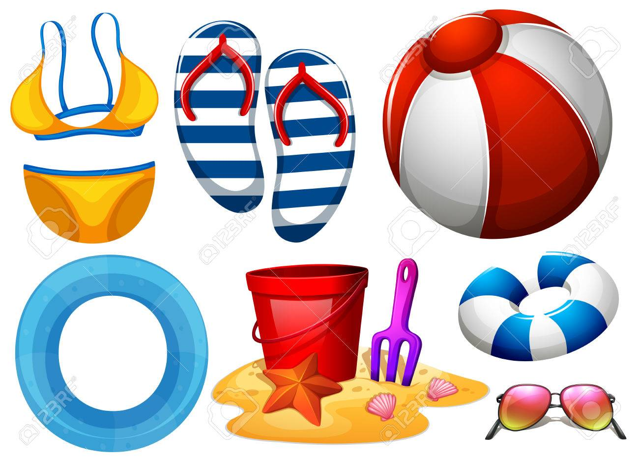 Beachwear and other beach toys illustration.