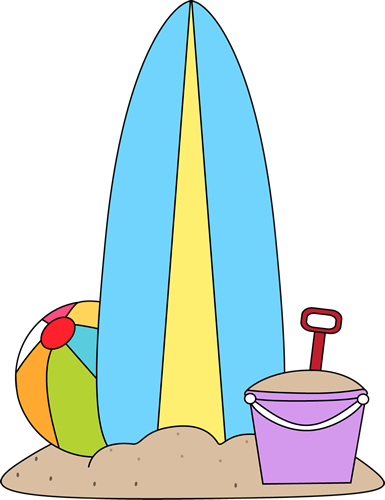 Surfboard and beach toys..