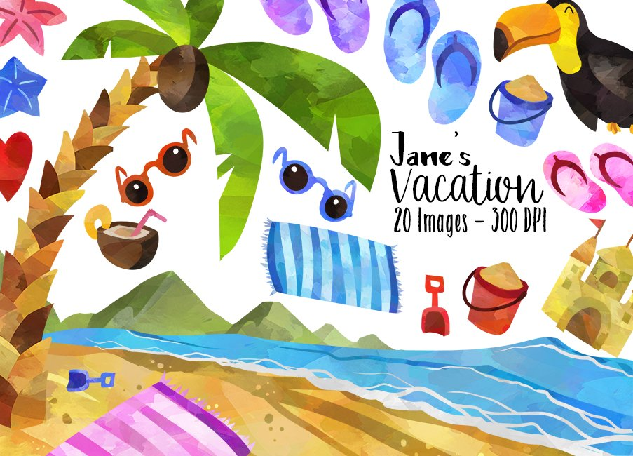 Tropical Beach Vacation Clipart.