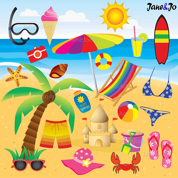 22 Beach Clipart + FREE 12 Digital Papers , Summer clipart.