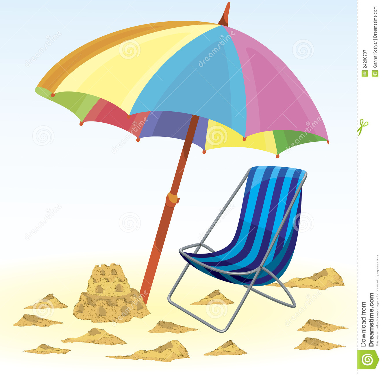 Beach chair umbrella clipart.