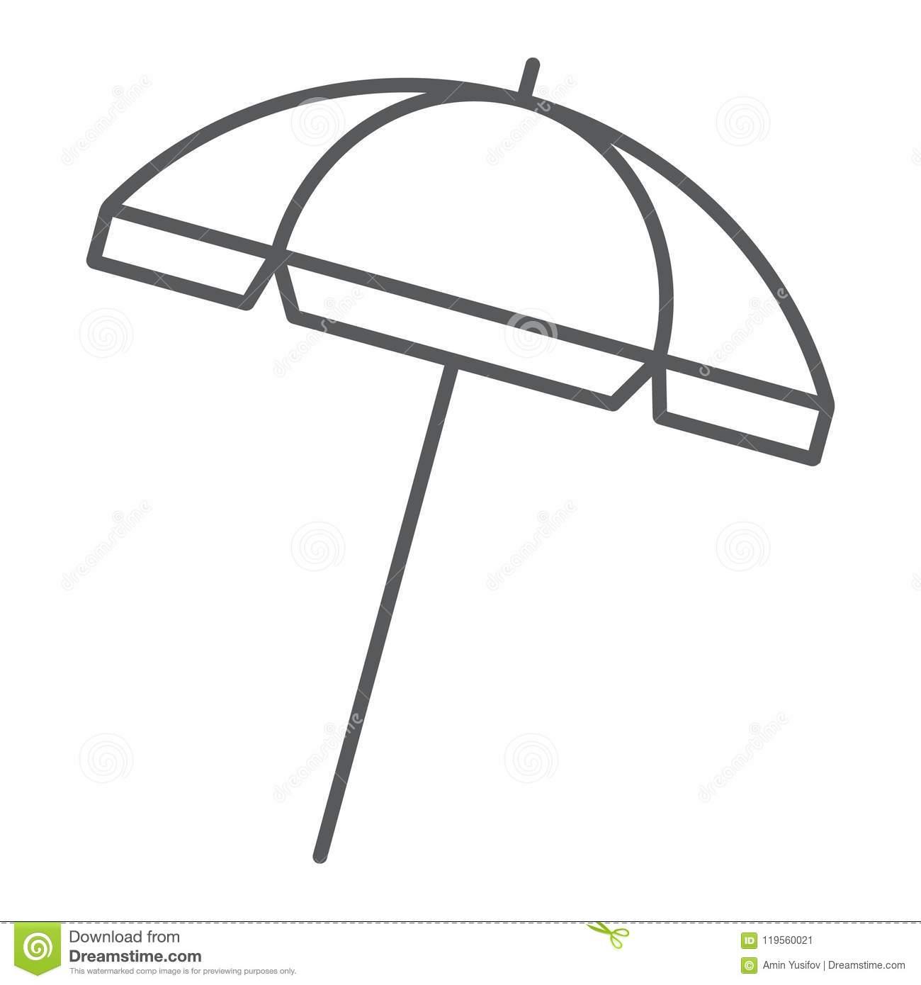 Beach Umbrella Thin Line Icon, Travel And Parasol Stock Vector.