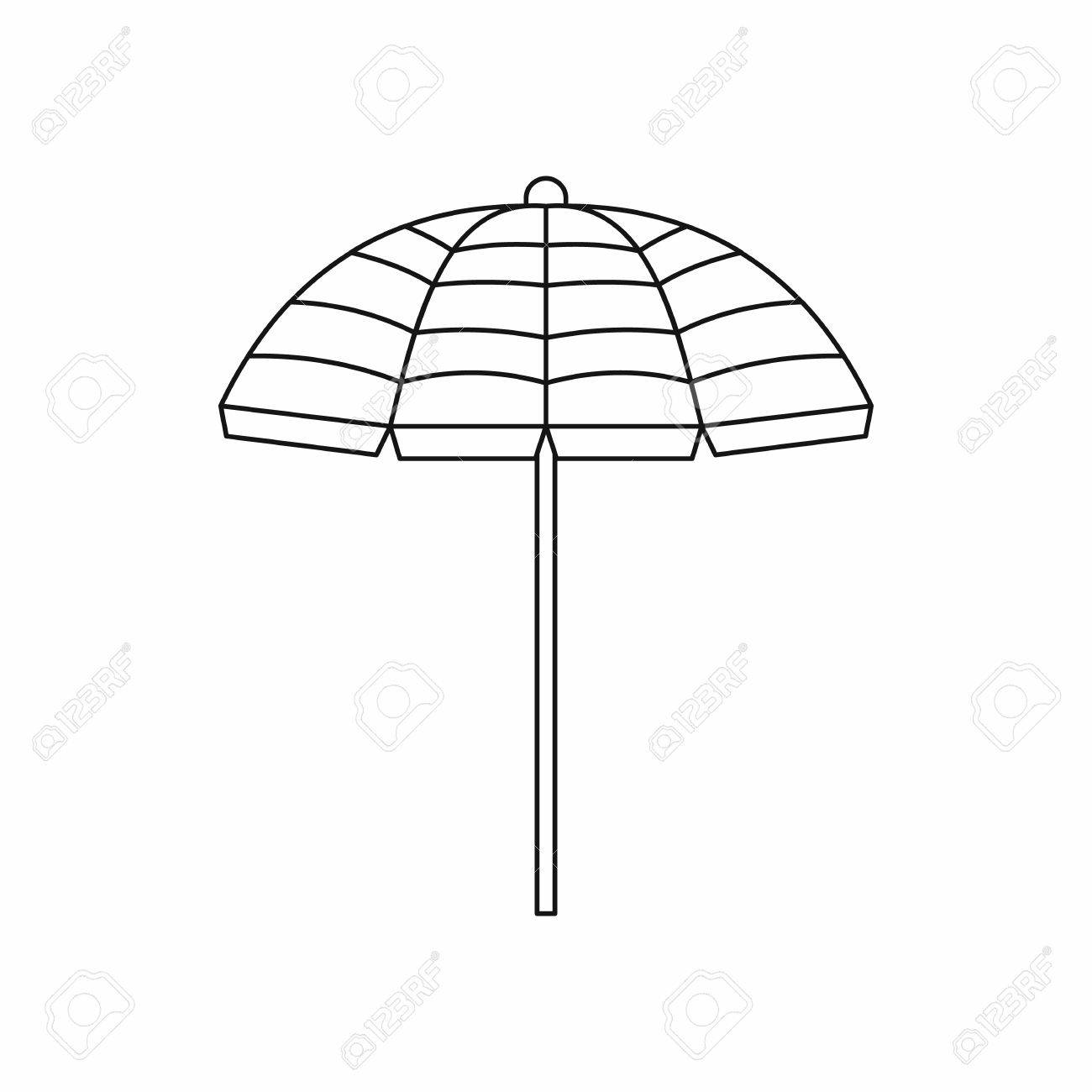 Beach umbrella icon in outline style isolated on white background.