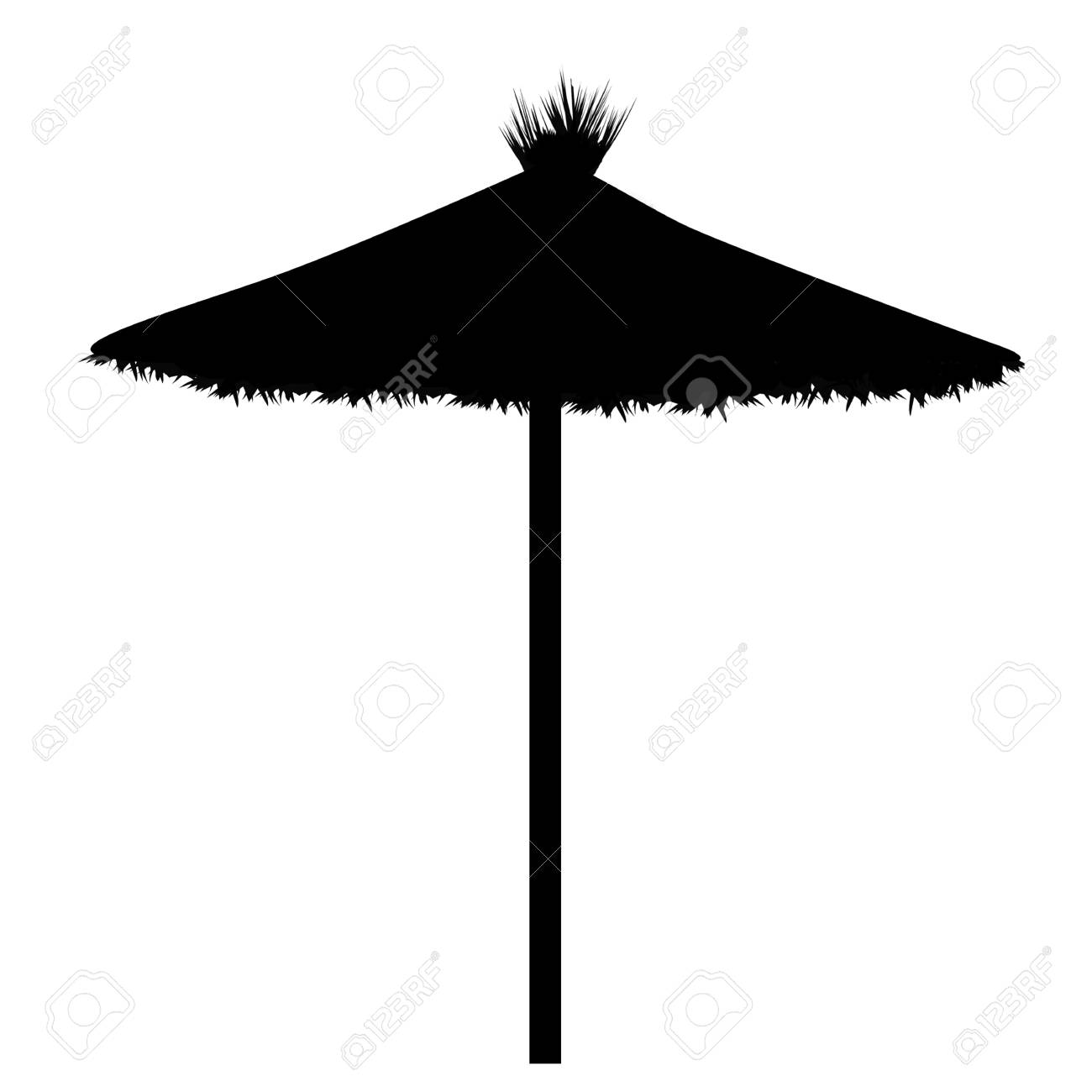 Beach umbrella silhouette on white background, vector illustration.