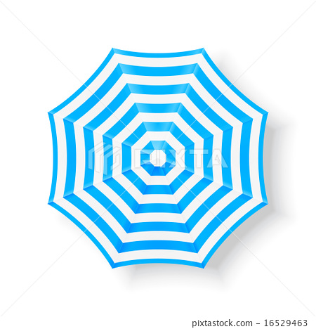 Beach umbrella top view icons, vector illustration.