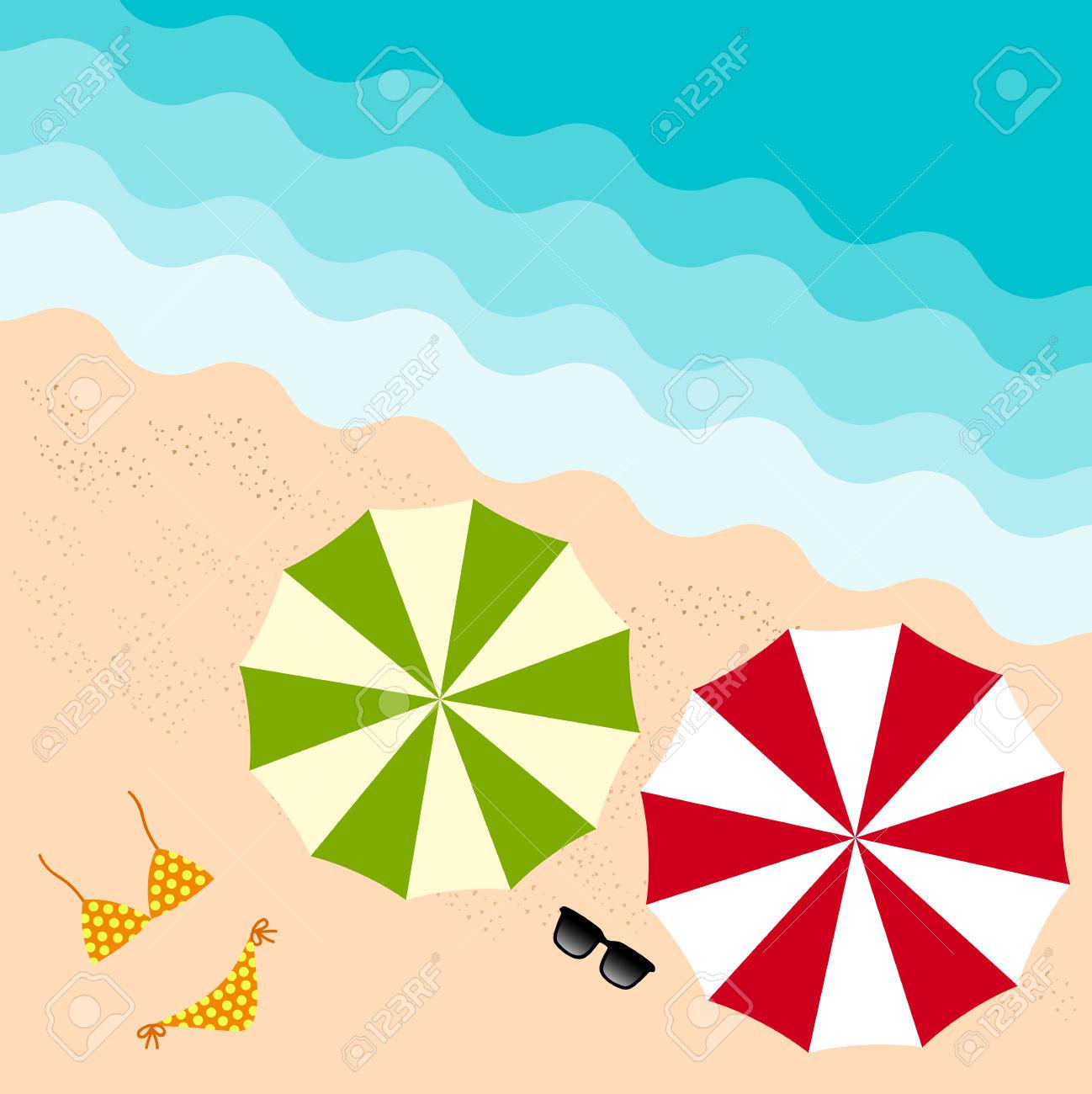 Colorful Umbrella, Sun Glass And Bikini On The Beach In Summer.