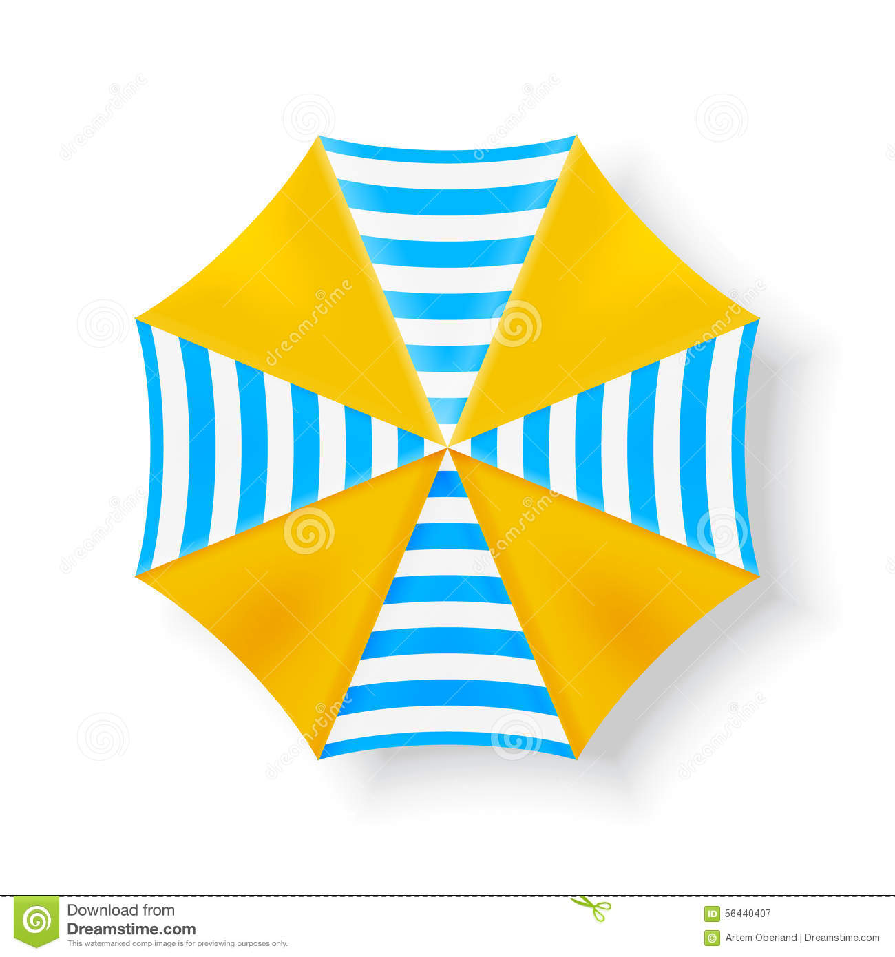 Beach Umbrella Top View Icons, Vector Illustration Stock Vector.