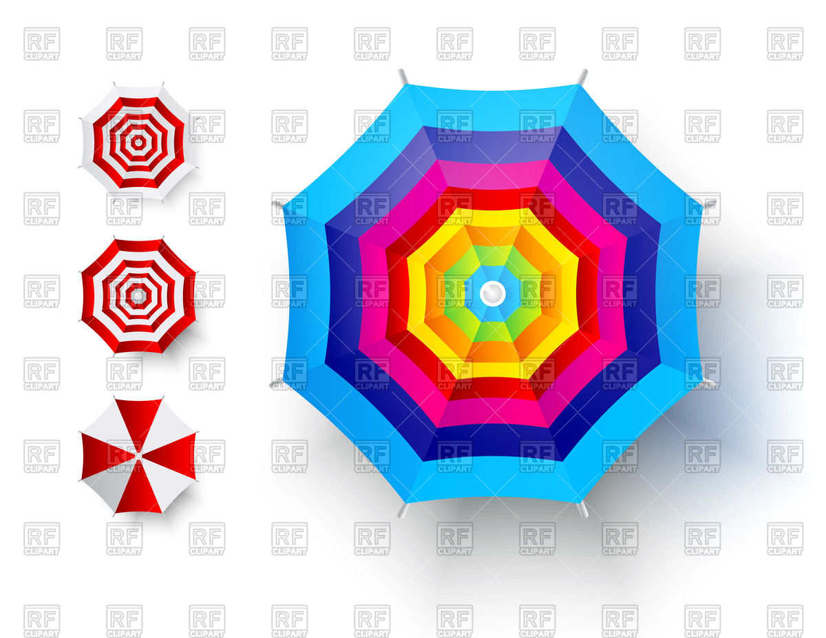 Beach Umbrella Clipart Top View.