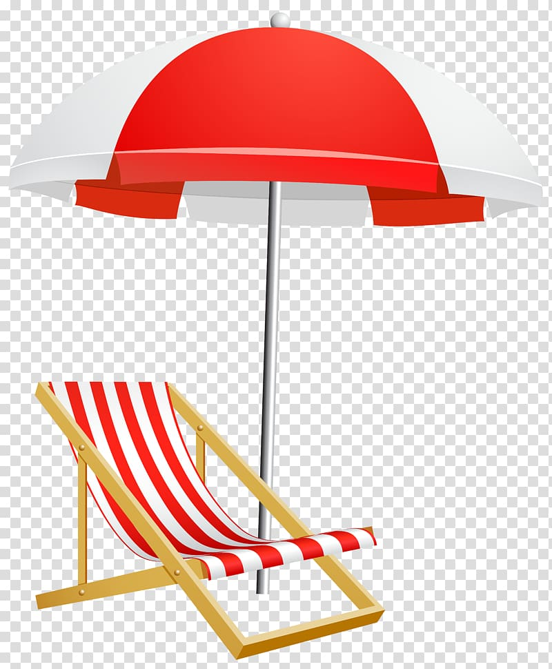 Red and white parasol and deck chair illustration, Umbrella.