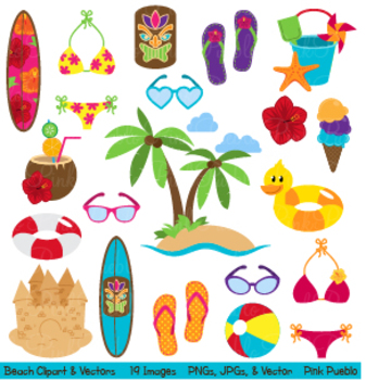 Beach, Travel and Summer Vacation Clipart and Vectors.