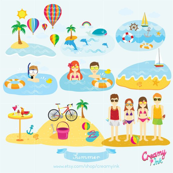 Summer Holiday Digital Vector Clip art / Beach Vacation.