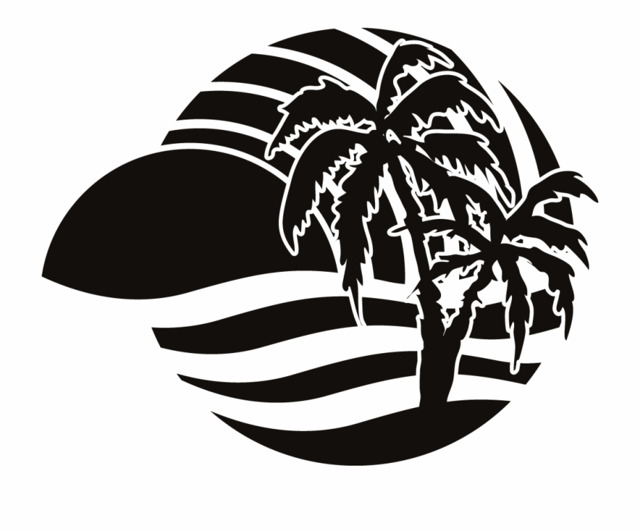 Party Beach Silhouette Labels Png.