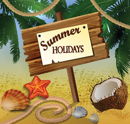 Beautiful beach view with wooden board Clipart Image.