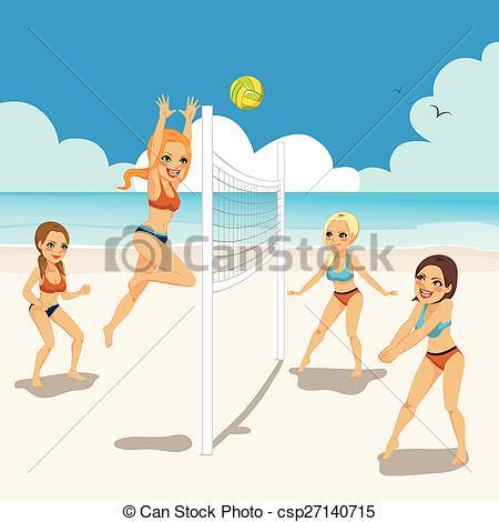 Vector Clip Art of Women Playing Beach Volleyball.