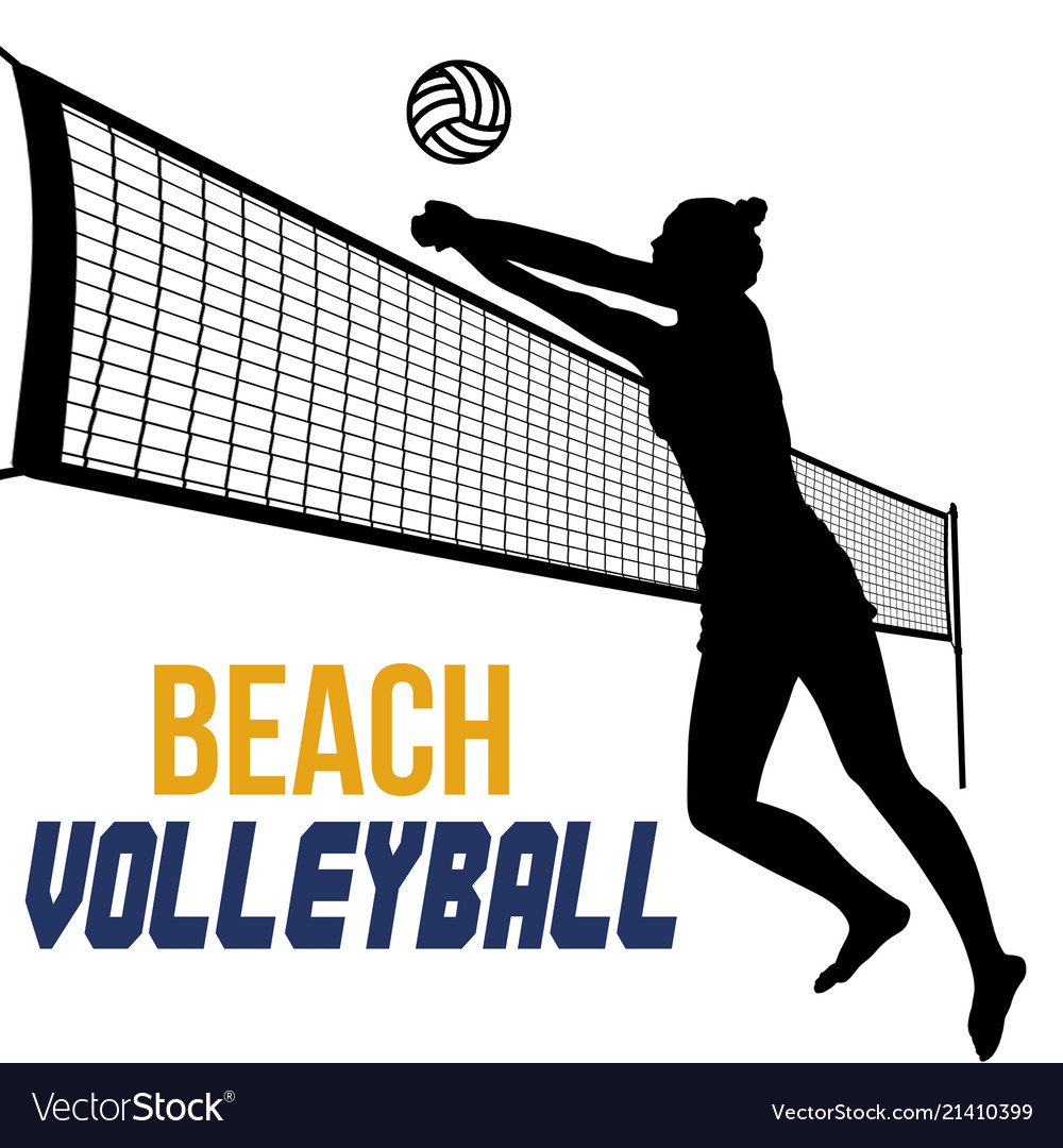 Silhouette of beach volleyball player.