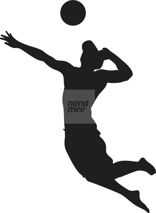 Beach Volleyball Player Silhouette.