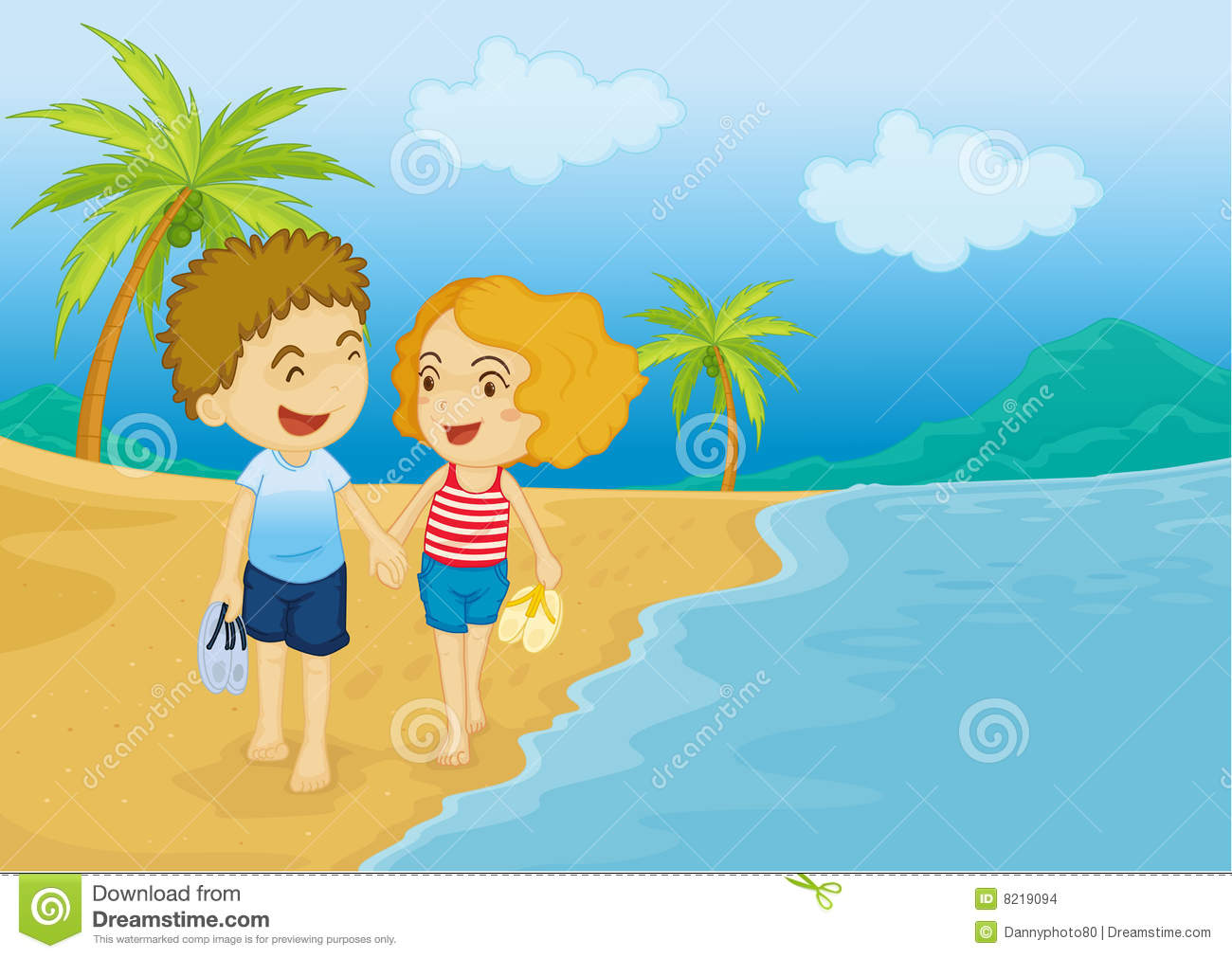 Walking On The Beach Clipart.