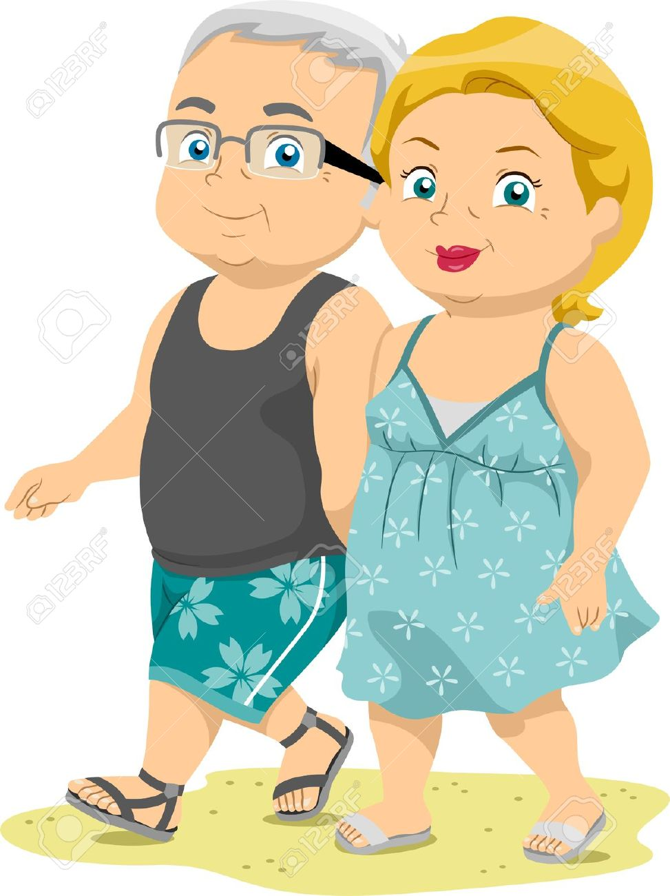 Illustration Of Senior Couples Taking A Walk On The Beach Stock.