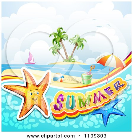 Clipart of a White Sand Tropical Beach with a Palm Tree and Sun.
