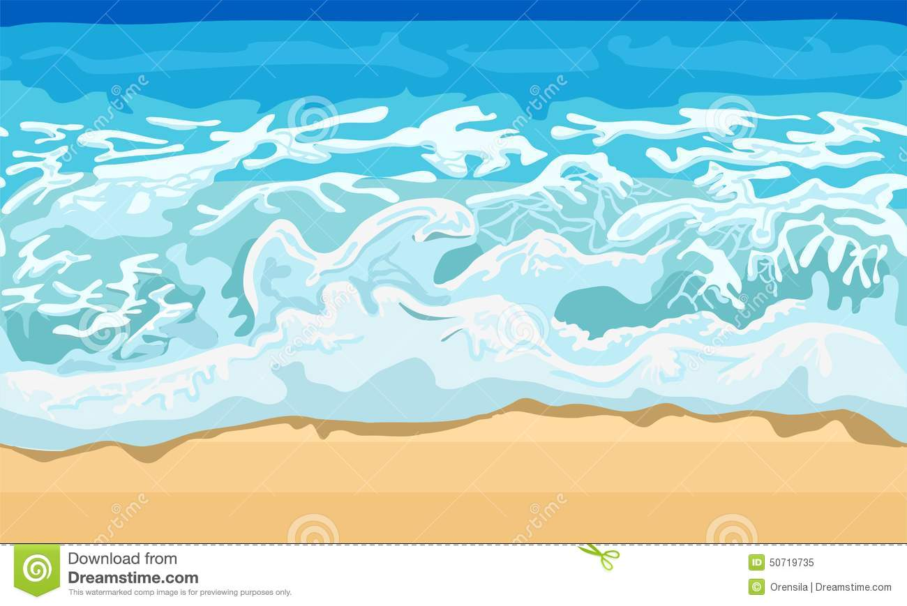 Sea wave and sand beach stock vector. Illustration of season.
