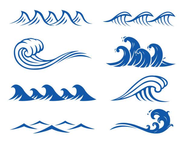Best Ocean Wave Illustrations, Royalty.
