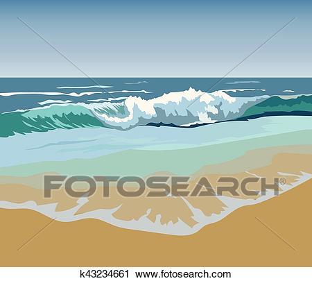 Summer Beach Waves Clipart.