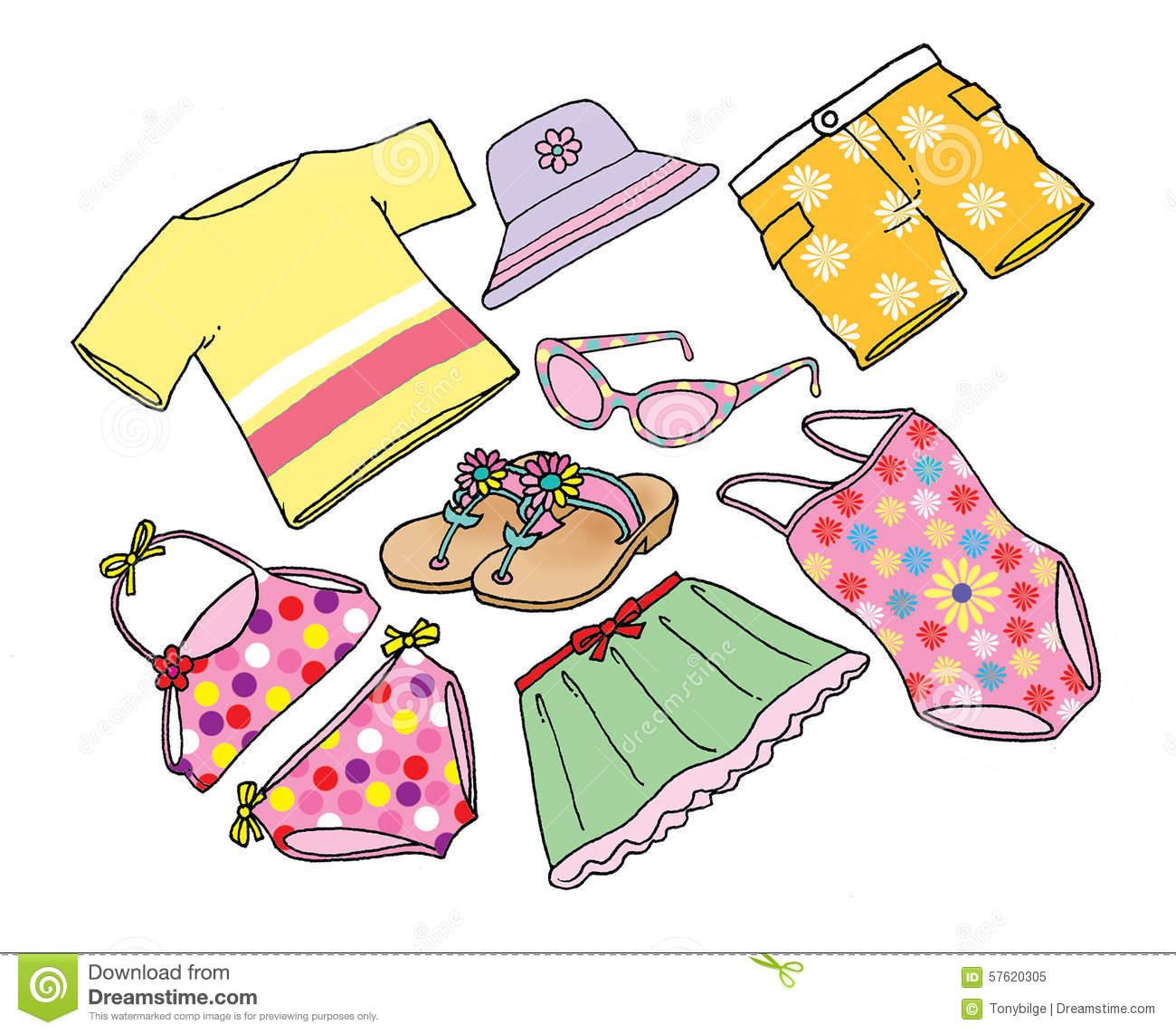 Beach Dresses Stock Illustration.