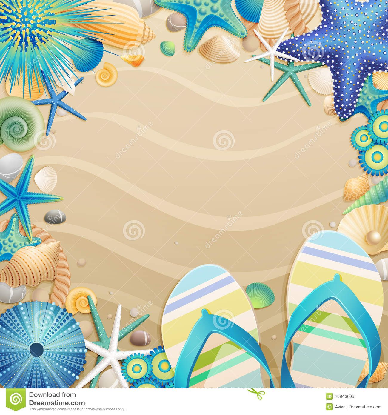 free clipart images of flip flops on the beach.