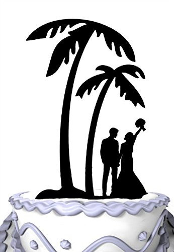 Meijiafei Bride and Groom Under Palm Tree in Beach Wedding Cake Topper.