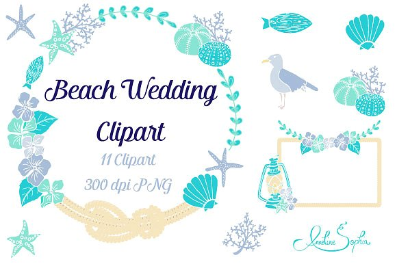 Beach wedding clipart Photos, Graphics, Fonts, Themes, Templates.
