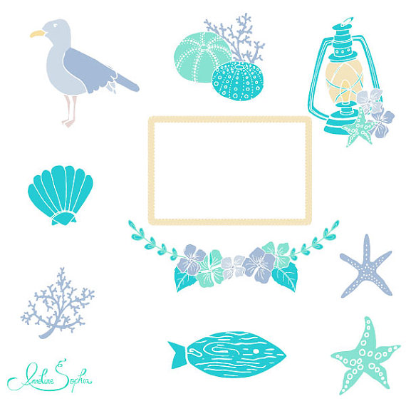 Beach Wedding Clipart Nautical Wedding Invitation Clip Art Sea.