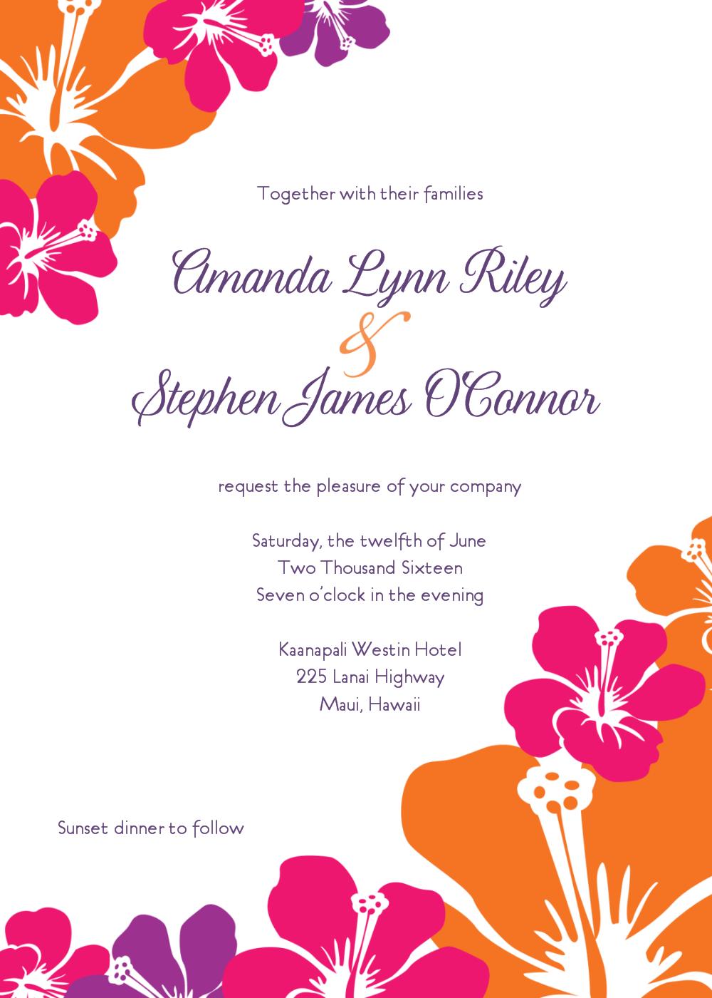 Hawaiian Wedding Invitation.