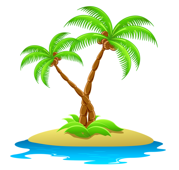 Island with Palm Trees Transparent Clipart.