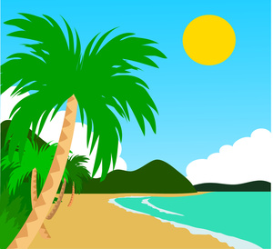 Palm tree on beach clipart.