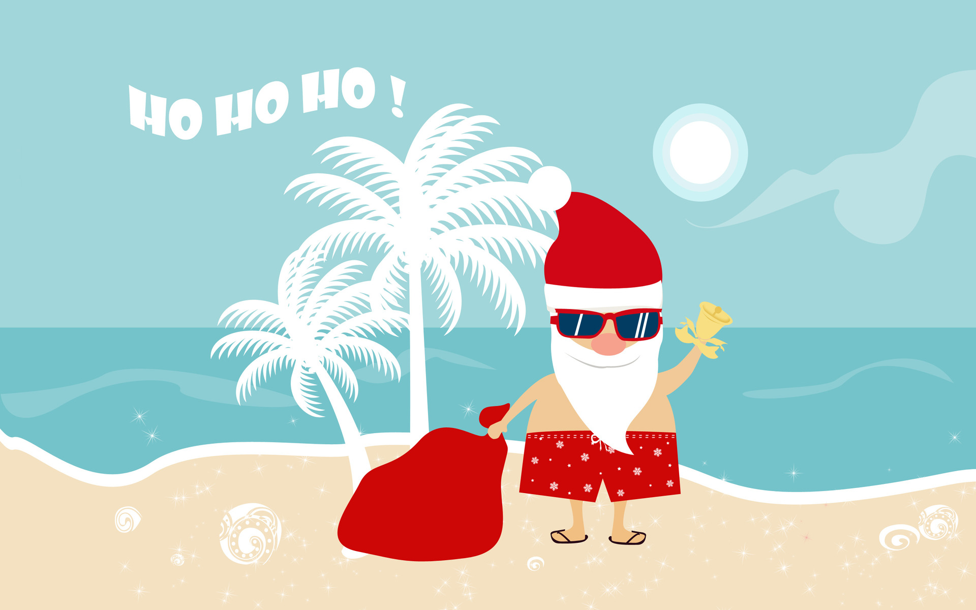 beach santa holiday wallpaper.
