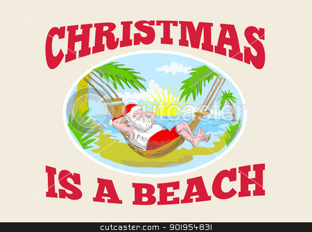 Tropical beach christmas clipart.
