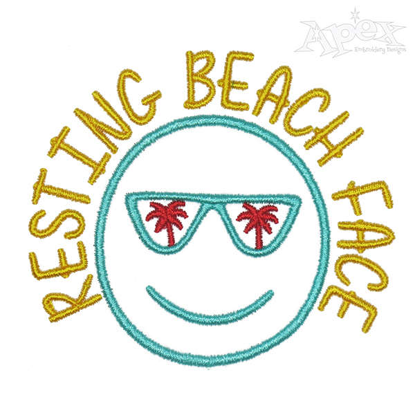 Resting Beach Face Embroidery Design.