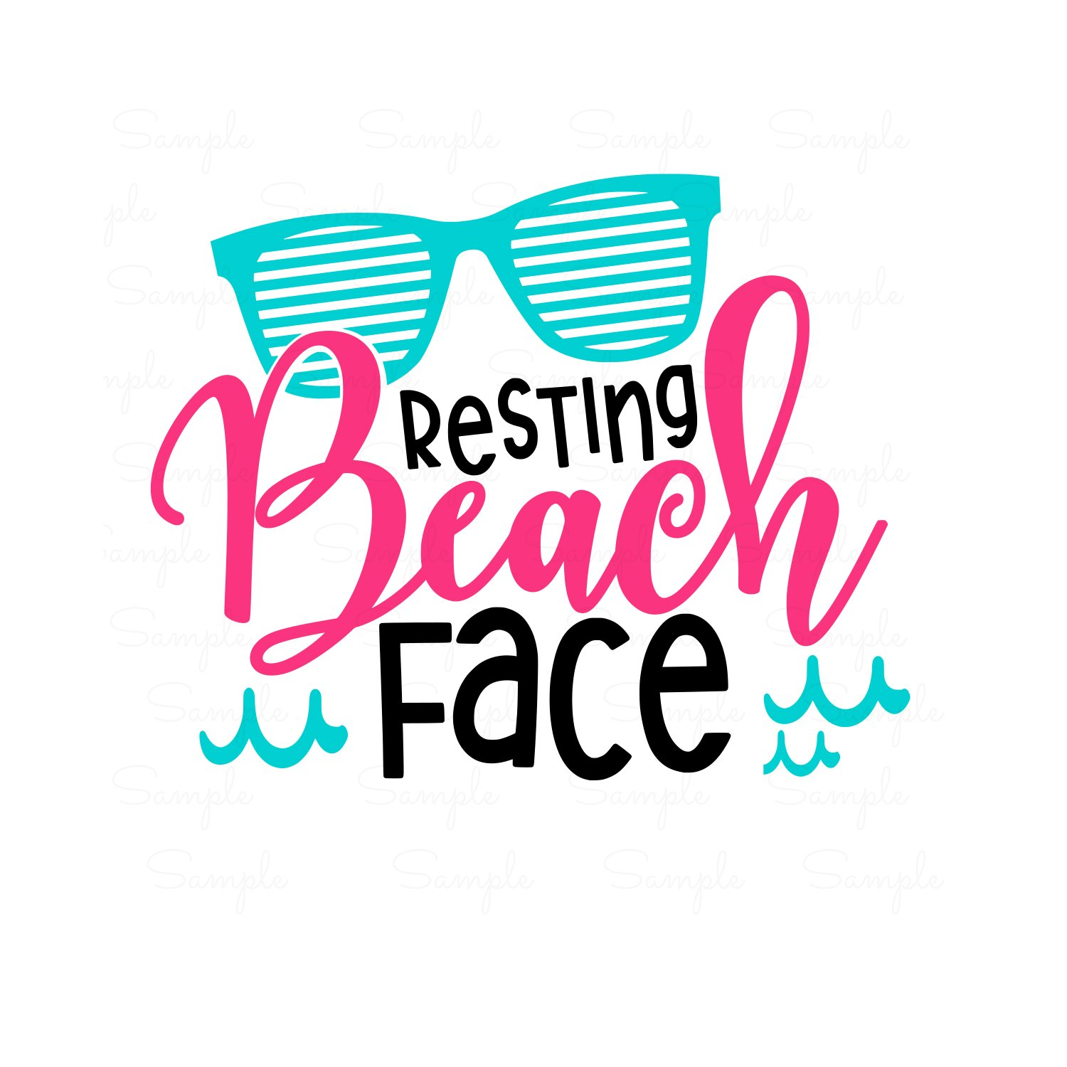 Resting Beach Face Ready to Press Transfer.
