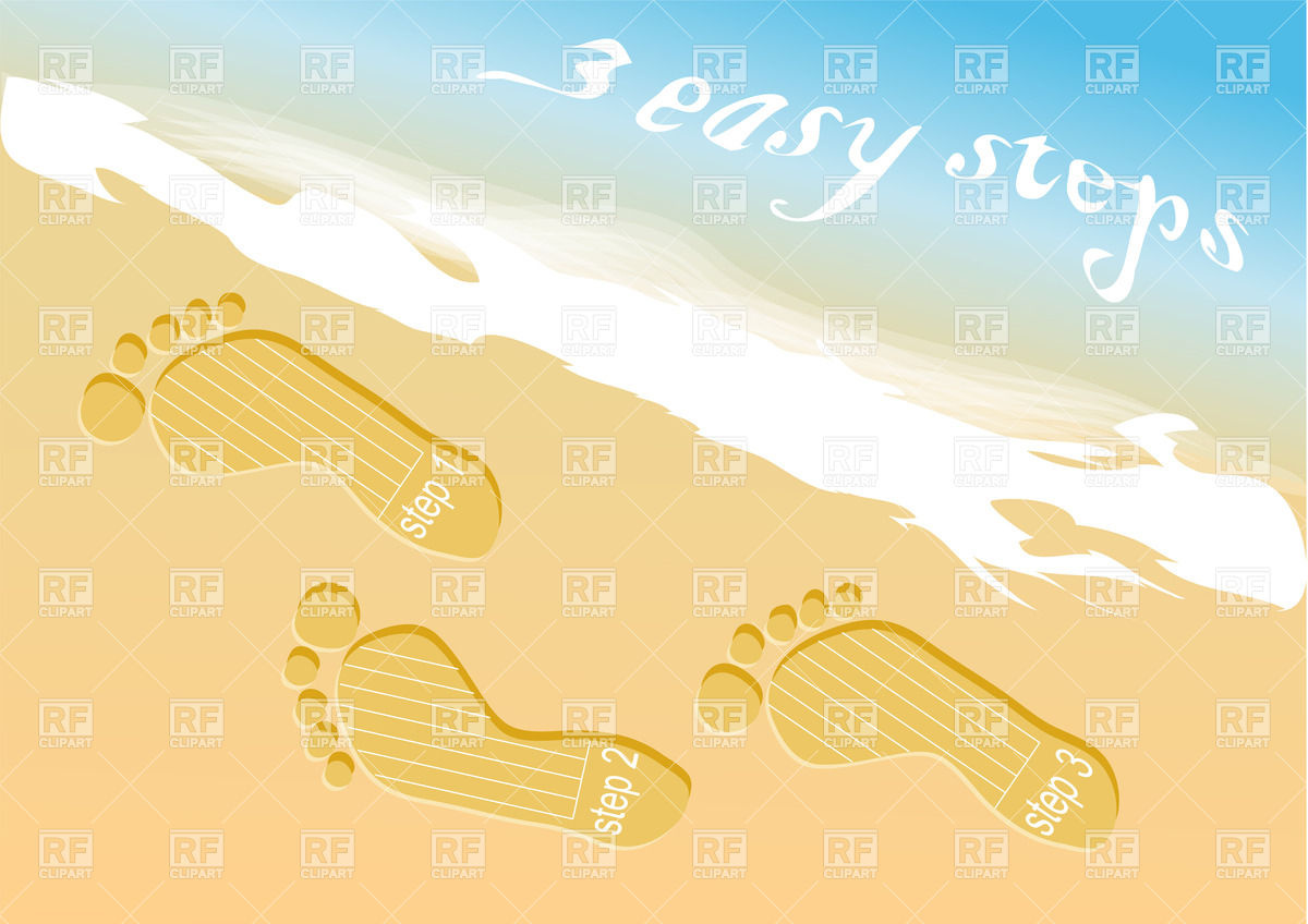 Step prints on the beach sand Vector Image #38657.