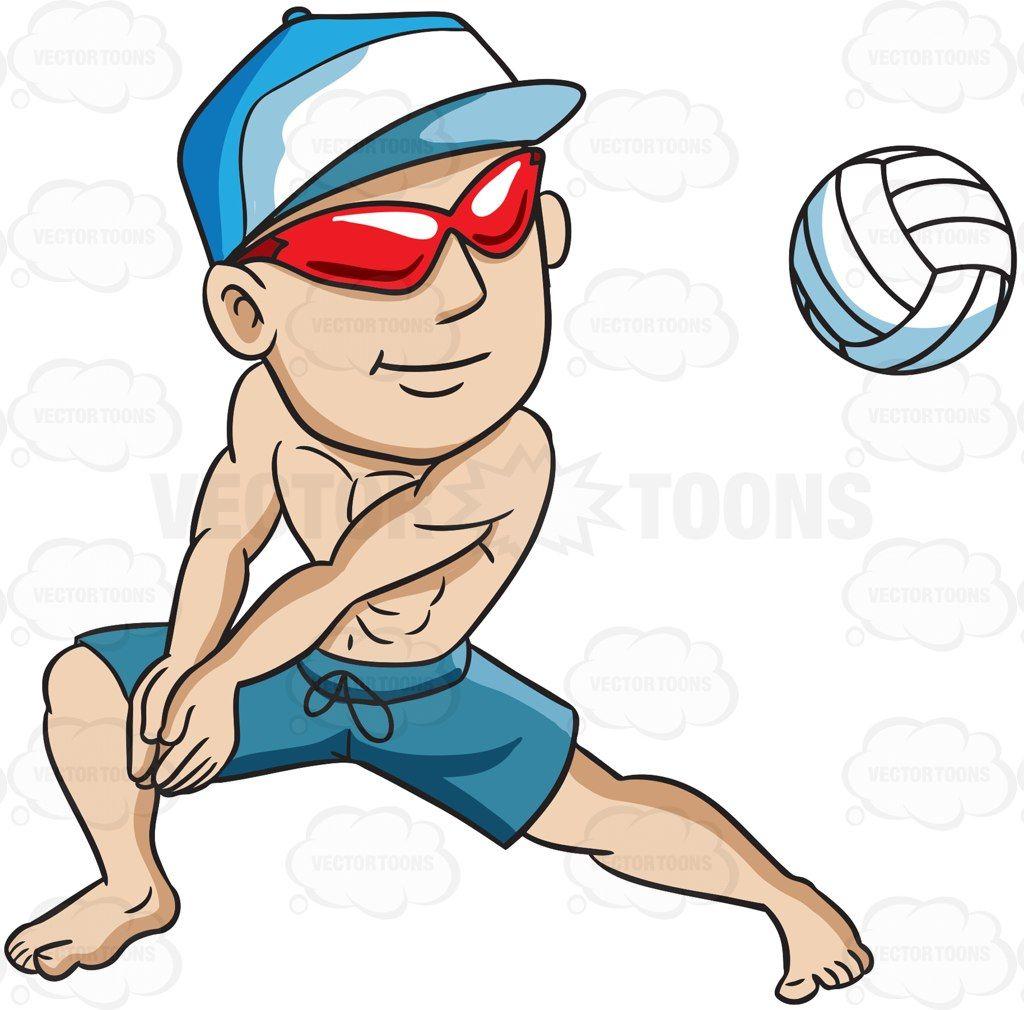 A man enjoying a game of beach volleyball #cartoon #clipart.