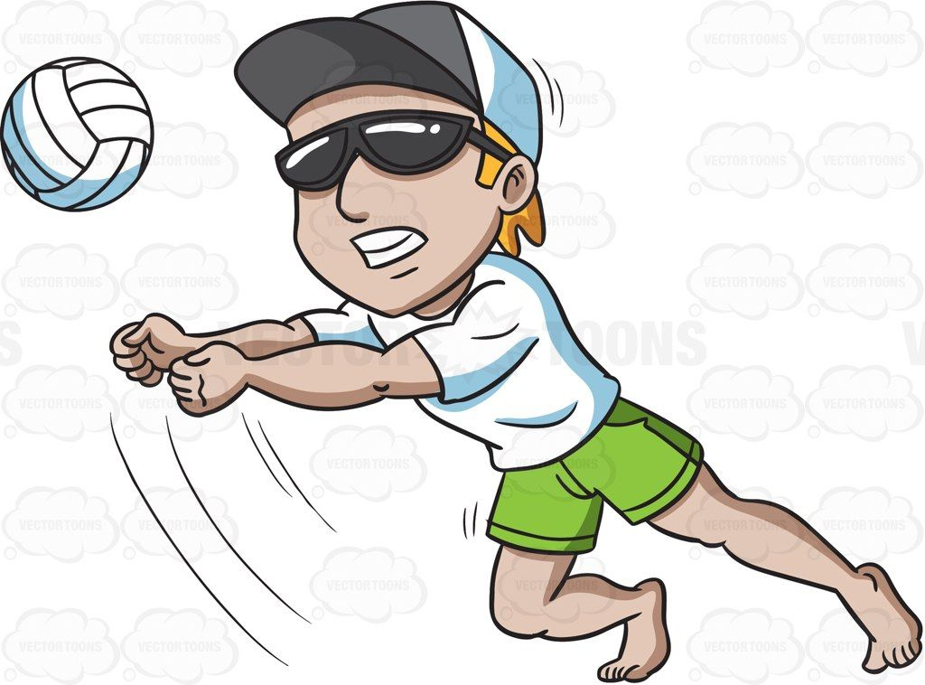 A man engrossed in a game of beach volley #cartoon #clipart.