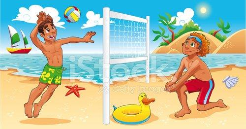 Beach Volley scene Clipart Image.
