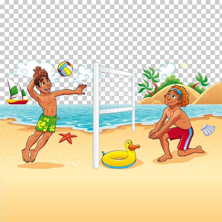 Beach volleyball Cartoon, beach volleyball, two men playing.