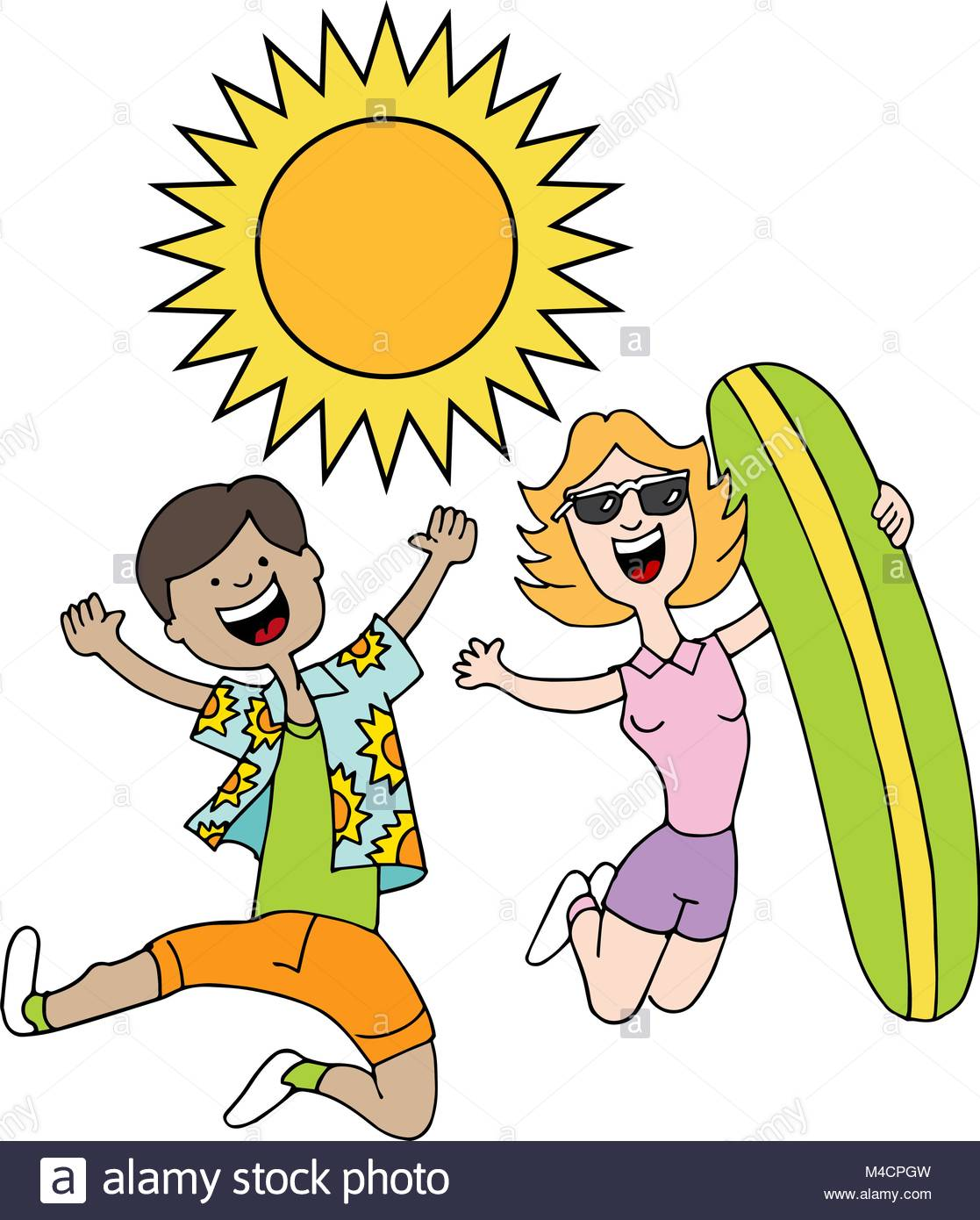 An image of a man and woman wearing summer beach clothes Stock.
