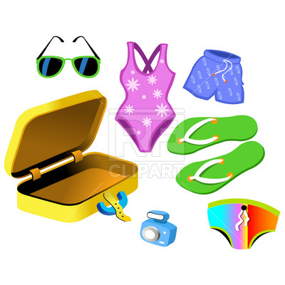 Swimsuit and suitcase Vector Image.